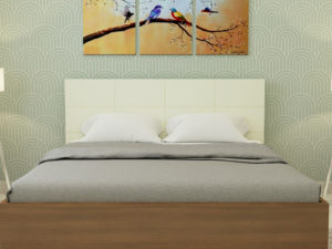 Callum Bed in Ivory White & Jungle Wood Finish