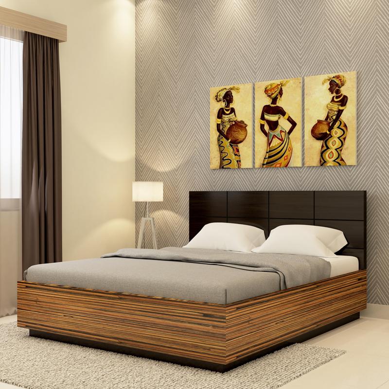 Callum Bed in Grainy Brown Gloss and Dark Chestnut Finish