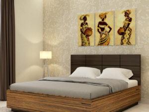 Callum Bed in Grainy Brown Gloss & Wenge Finish