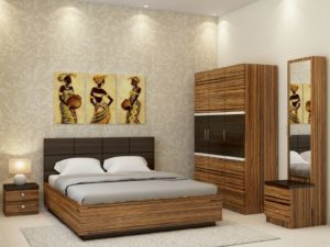 Callum XXL Room Package in Grainy Brown Gloss and Wenge Finish