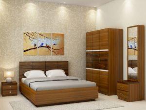 Callum XL Room Package in Glossy Jungle Teak and Dark Jungle Wood Finish
