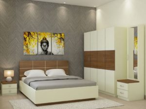 Callum XXL Room Package in Ivory White And Jungle Wood Finish