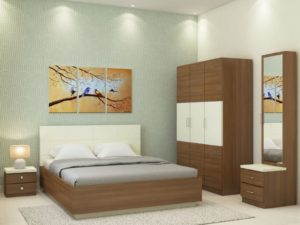Callum XL Room Package in Ivory White & Jungle Wood Finish